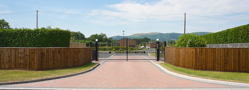 Gated access to Oakmere Lodge Park Hanley Swan Worcestershire