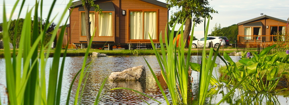 Lodges overlooking the water feature