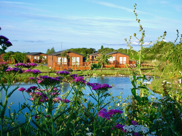 Lodges overlooking the water feature on Oakmere Lodge Park