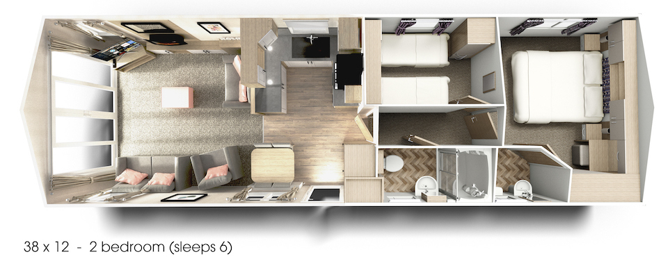 Illustration of Floor Plan for a Brand New Willerby Manor on Oakmere Holiday Park